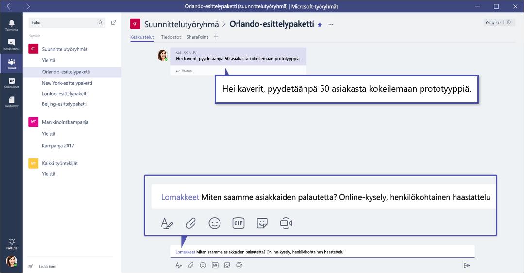 Microsoft Forms QuickPoll sisään Microsoft-ryhmät