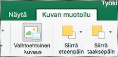 Vaihtoehtoinen teksti-painike Excel for Macin valinta nauhassa oleville kuville