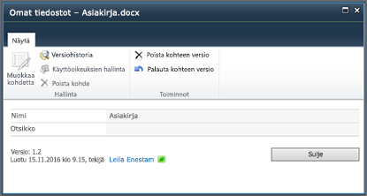 SharePoint 2010:n versiohistoriavalintaikkuna