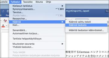Asiakirja, jossa Työkalut-valikkoa on laajennettu näyttämään Käännä-komento
