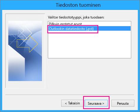 Outlookin datatiedoston (.pst) tuomisen valitseminen