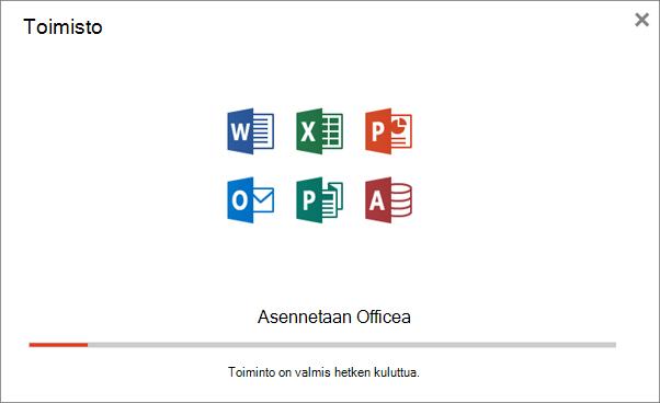 Näyttää edistymisen valintaikkunan, joka tulee näkyviin, kun Officea asennetaan