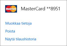 Maksutavat-sivu, jolla näkyvät luottokortin Muokkaa tietoja-, Poista- ja Näytä tilaushistoria -linkit.