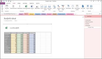 Yleisesittely Excel-laskentataulukosta OneNoten sivulla