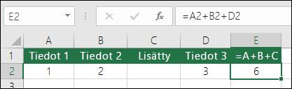 Muodossa =A+B+C olevat kaavat eivät päivity, kun rivejä lisätään.