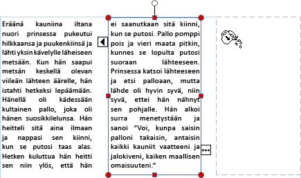 Näyttökuva tekstiruudusta, jossa yli menevä teksti on valmiina valumaan toiseen tekstiruutuun.