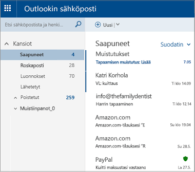 Ensisijainen Outlook.com- tai Hotmail.com-näyttö