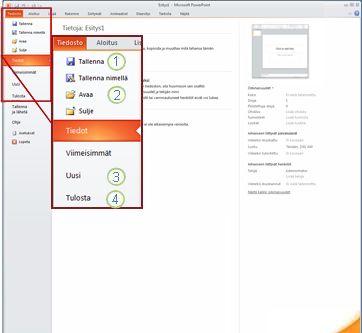PowerPoint 2010:n valintanauhan Tiedosto-välilehti.
