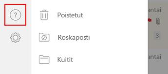 Kuva Outlook for iOS:n vasemmanpuoleisesta siirtymisruudusta.