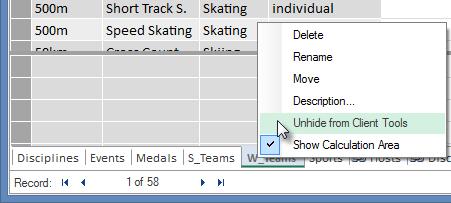 taulukoiden piilottaminen Excelin asiakastyökaluilta