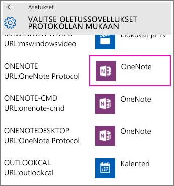 Näyttökuva OneNote-protokollista Windows 10:n asetuksissa.