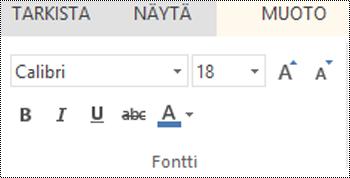 Fontti-ryhmä PowerPoint Onlinessa