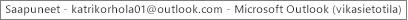 Ikkunan yläreunassa oleva otsikko kertoo Saapuneet-kansion omistajan nimen ja ilmaisee, että Outlook toimii vikasietotilassa