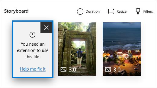 """Virhe valo kuvat-sovelluksen video editorissa sanomalla """"tarvitset laajennusta tämän tiedoston käyttämiseen."""""""