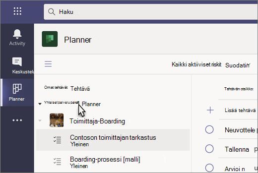 Näyttökuva Teamsin Tehtävät-sovelluksesta, jonka nykyinen nimi on Planner
