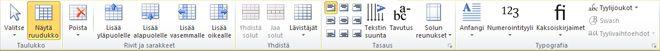 Taulukon asettelutyökalut Publisher 2010:ssä
