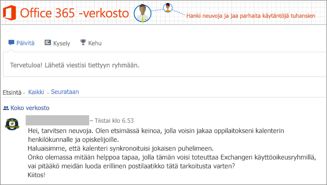 Office 365 -verkoston aloitussivu