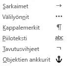 Nämä ovat sähköpostiviesteissä käytettävissä olevat muotoilumerkit.