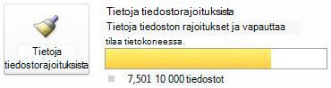 SharePoint Workspacen tiedostomittari silloin, kun käytössä on 7500–9999 tiedostoa