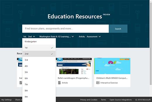 Education resurssit-Aloitussivu ja suodattimen avattava luettelo