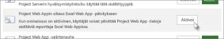 Project Web Appin oikeus Excel Online -päivitykseen
