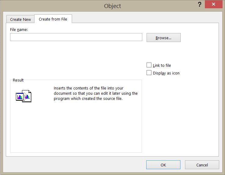 Luo tiedostosta -välilehti Objekti-valintaikkunassa.