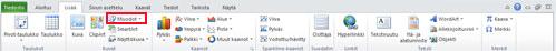 Excel 2010:n Lisää-välilehti, jossa Muodot näkyy korostettuna.