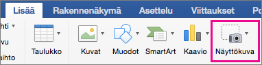 Office 2016 for Macin näyttökuvaominaisuus