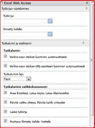 Valitse ja lisää ominaisuuksia Excel Web Access -WWW-osaan työkaluruudussa.