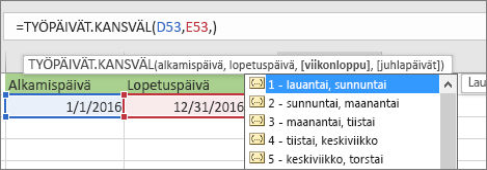 IntelliSense-luettelo, jossa on 2 – sunnuntai, maanantai; 3 – maanantai, tiistai ja niin edelleen