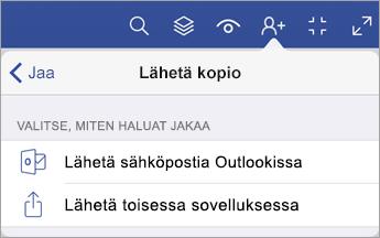 Lähetä kopio -valikko, jossa näytetään kaksi vaihtoehtoa tiedoston jakamiseen: sähköpostitse Outlookin avulla tai lähettämällä toisessa sovelluksessa.