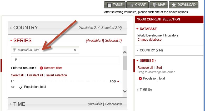 tietojoukon valinta worldbank.org -sivustolta