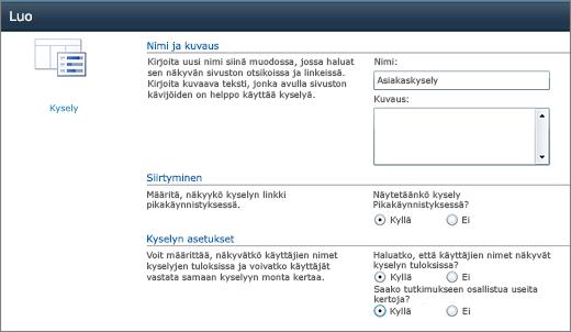 SharePoint 2010 -kyselyn asetukset-sivu