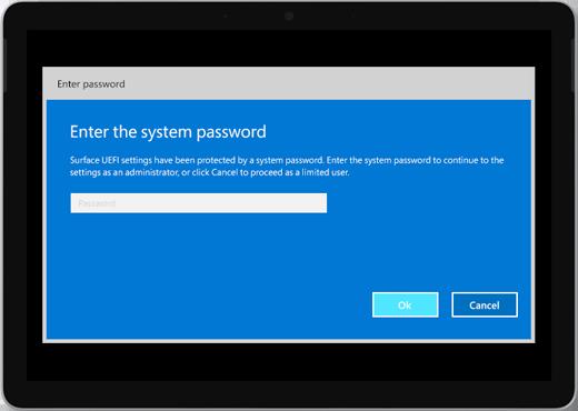 """Näyttää sinisen näytön, jossa lukee """"Anna järjestelmän salasana"""". Salasana on kirjoitettava ruutu, jonka alapuolella on OK- ja Peruuta-painikkeet."""