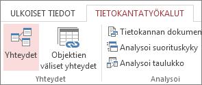 Yhteydet-komento Tietokantatyökalut-välilehdessä
