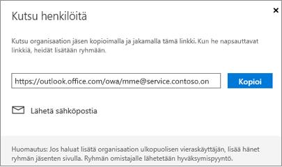 Upota sähköpostiviestin liittymislinkki valitsemalla Kopioi tai Sähköposti