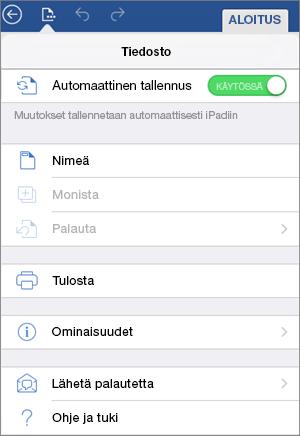 Automaattinen tallennus käytössä