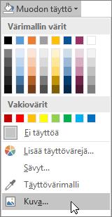 Näyttökuva Publisherin Muotoile-välilehden Muodon täyttö -kohdan Kuvatäyttö-vaihtoehdosta.