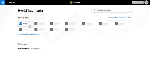 Office 365 -aloitussivu, jossa Outlook-sovellus on korostettu