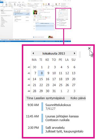 Poista pikanäkymä -komento kiinnitetyssä kalenterin pikanäkymässä