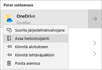 Näyttökuva, jossa näkyy Aloitusvalikossa hiiren kakkospainikkeella esiin saatavan valikon Avaa tiedostosijainti -vaihtoehto valittuna.