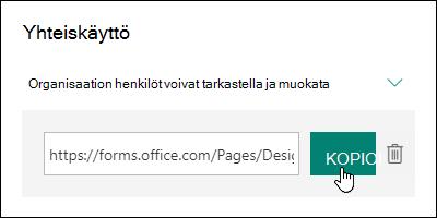 Lomakkeen URL-yhteiskäyttölinkki Kopioi- ja Poista-painikkeiden vieressä
