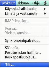 Outlook for Macin Työkalut > Tilit