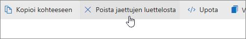 Näyttökuva, jossa näkyy Poista jaetusta luettelosta -painike OneDrive.com-sivustossa.