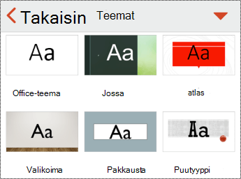 PowerPoint for iOS:n Teemat-valikko.