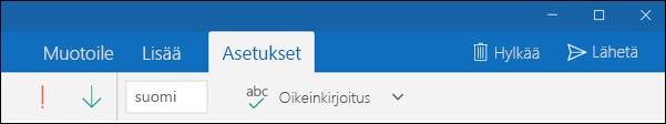 Outlookin sähköposti -sovelluksen Asetukset-välilehti