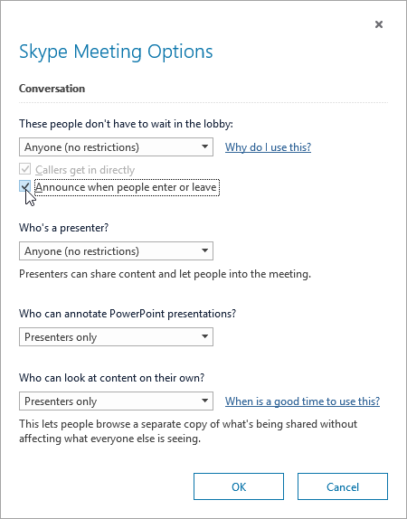 Kokouksen asetukset -valintaikkuna, jossa käyttäjien liittyminen tai lähteminen näkyy korostettuna