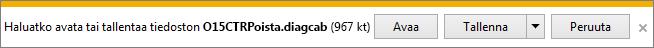 Avaa helppokäyttöinen O15CTRRemove.diagcab-korjaustyökalu valitsemalla Avaa