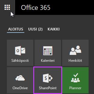 Näyttökuva sovellusten käynnistyksestä SharePoint Server 2016:ssa
