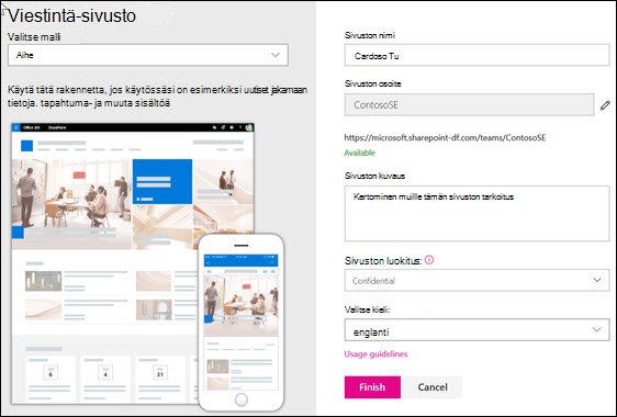 SharePoint-viestintäsivuston luominen